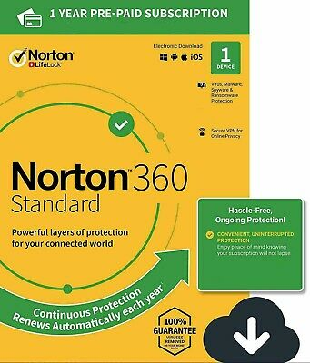 NEW Norton 360 Standard 2021 1 Device 1 PC 1 Year + Secure VPN Internet Security • 8.96£