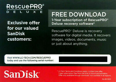 SANDISK RESCUE PRO Deluxe Recovery Software Download For Digital Media • 3.95£
