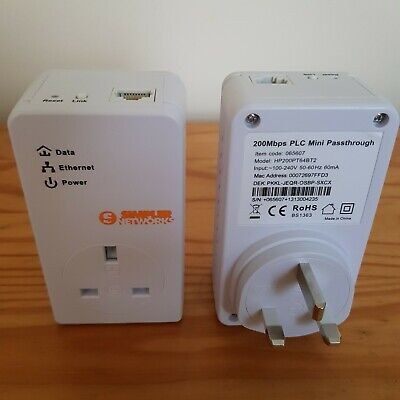 2 X Simpler Network 200 Mbps Mini Passthrough Plug: White • 10£