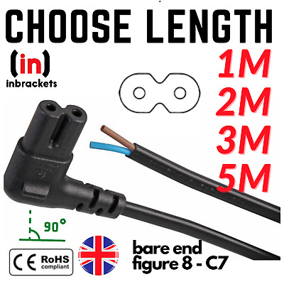 Bare Ends C7  PIN Figure Of 8 Power Cable Lead Right Angle 90° Connector Angled  • 3.75£