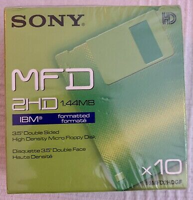 Sony 1.44MB MFD 2HD 10x Floppy Disks IBM Formatted * New & Sealed * • 15£
