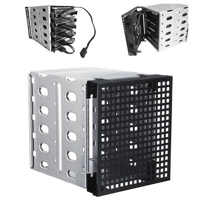 5.25'' To 5x 3.5'' SATA SAS HDD Cage Rack Hard Driver Tray Caddy With Fan Space • 12.99£