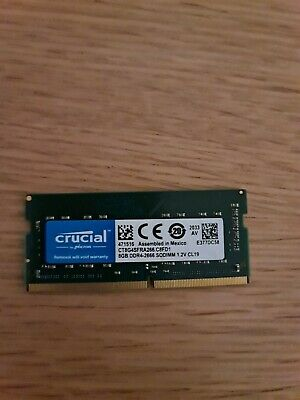 Crucial  8 GB DDR4, 2666 MT/s, PC4-21300, SODIMM, 260-Pin Laptop Memory, 4 • 25£