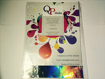 High Def Clear A4 Inkjet Self Adhesive Sticker Label Vinyl Not Paper (5 Sheets) • 6.99£