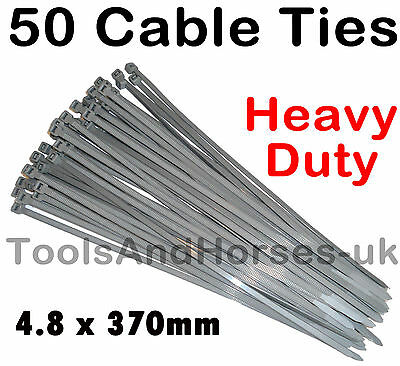 50 Silver Cable Ties Wheel Trim Cable Ties Hub Cap Zip Ties Nylon Tie Wraps 370m • 3.75£