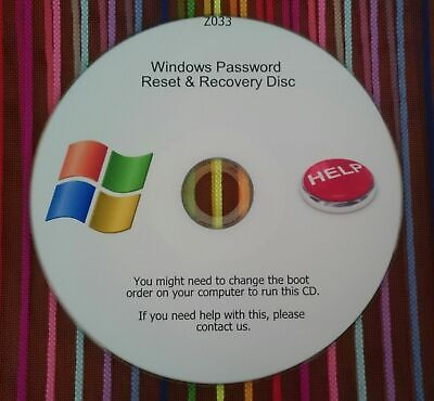 Windows XP, VISTA, 7, And 8 Password Recovery Reset Remove Recover CD Disc • 1.55£