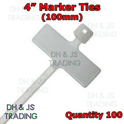 100 X 4  Cable Tie Marker I.D Tie 100mm With Write On Tab Label Tag Wire Wiring  • 2.65£
