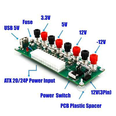 20/24Pin ATX Benchtop Board Computer PC Power Supply Breakout Adapter Module • 6.25£
