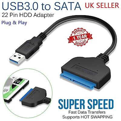 USB 3.0 To SATA 22 Pin 2.5 Inch Hard Disk Drive SSD Adapter Connector Cable Lead • 5.99£