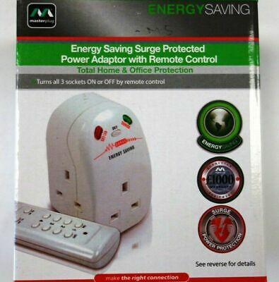 Master Plug Energy Saving Power Adapter Remote Control Surge Protector Mains  • 13.85£