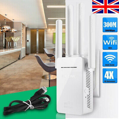 Wifi Extender Repeater 300Mbps Dual-Band Wireless Router Range Signal Booster UK • 16.99£