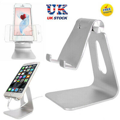Adjustable Desk Table Stand Holder Tool For IPad Tablet Phone Aluminum Silver UK • 8.19£