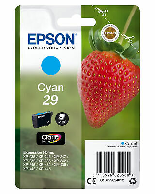 Epson 29 Cyan Ink Strawberry 1 X 3.2 Ml Standard C13t29824012 Genuine • 13.93£