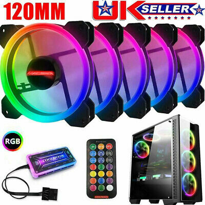 5 Pack RGB LED Quiet Computer Case PC Cooling Fan 120mm W/ 1 Remote Control NEW • 25.99£
