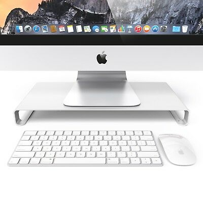Monitor Desk Table Riser Stand For Apple Imacs And PC Computers - SILVER • 19.99£