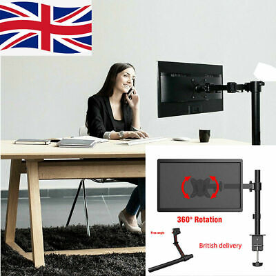 Fully Adjustable Single Arm Monitor Mount |Desk Stand Bracket With Clamp 10 ~27  • 18.65£