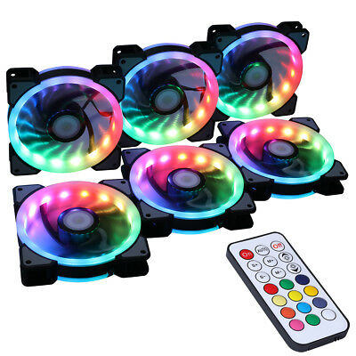 6PCS RGB Adjustable LED Controller Remote Control Cooling Chassis Fan • 29.99£