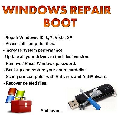 Windows 10 / 8 / 7 / Vista / XP Repair And Recovery Bootable 32GB USB • 12£