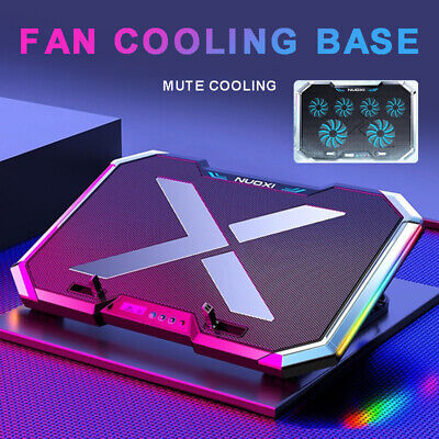 RGB LED Light Quiet Adjustable Quick Cooling Fan Pad Laptop Cooler Bracket Stand • 42.01£