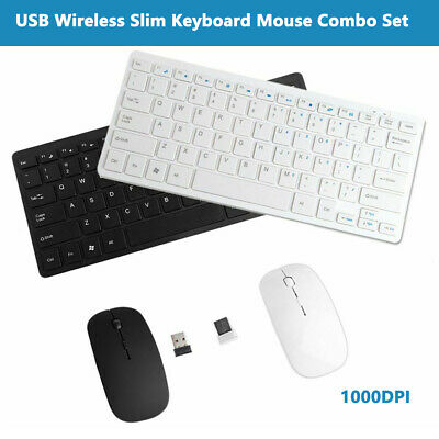 USB 2.4GHZ Wireless Slim Keyboard Mouse Optical Mice Combo Set For PC Laptop UK • 11.99£