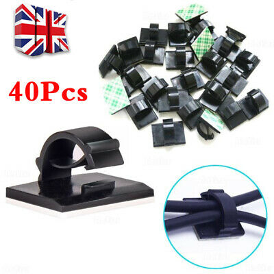 40PCS Mini Self Adhesive Car Wire Clips Rectangle Tie Sticker Cable Cord Holder • 1.99£