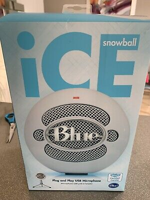 BLUE Snowball Ice Microphone - White Plug & Play USB MICROPHONE In Box • 21.70£