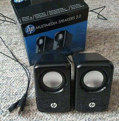 HP Wired Speaker System -Black BR367AA USB Laptop PC, HP Multimedia Speakers 2.0 • 14.99£