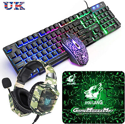 Rainbow Backlit Gaming Keyboard And Mouse And Headset Set For PC PS4 Xbox One UK • 39.99£