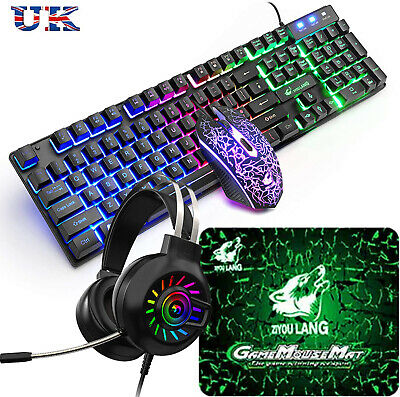 UK Rainbow Backlit Gaming Keyboard And Mouse And Headset Set For PC PS4 Xbox One • 18.99£