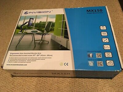 """Invision MX150 PC Monitor Arm – Gas Powered Full Motion Mount For 17–27"""" Screens • 21.95£"""