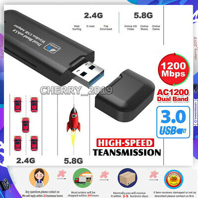 1200Mbps 5GHz Wireless WiFi Network Receiver Adapter USB 3.0 Dual Band Dongle • 8.49£
