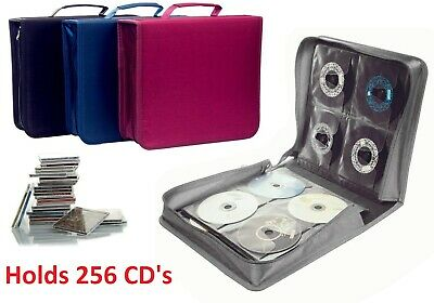 256 CD Case DVD Wallet Cover Disc Storage Holder Sleeve Handle Portable Car Home • 11.99£