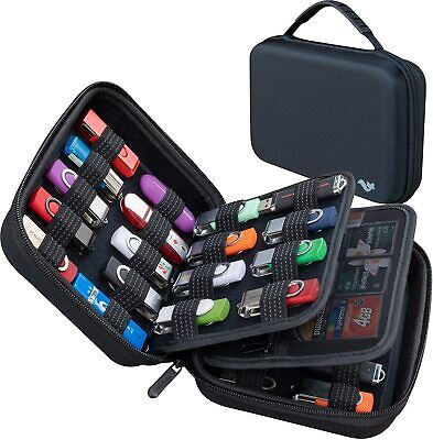 36 Slots USB Flash Drive & 10 SD Memory Card Holder Case Electronics Organiser • 19.99£