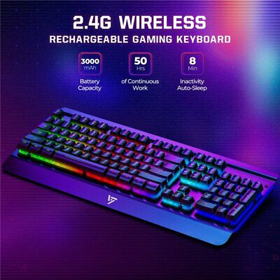 VictSing LED Rainbow Backlit Wireless Gaming Keyboard Rechargeable For Computer • 24.59£