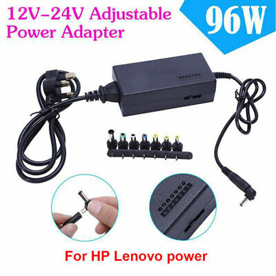 Universal 96W Laptop Power Supply Charger 12V-24V AC/DC Adapter Notebook 8 Sizes • 12.45£