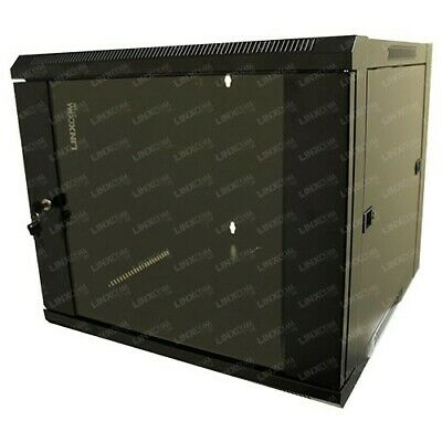 Linxcom 9U 19″ 570x600mm Wall Mounted Cabinet Model E – Black (Flat-Pack) • 30£