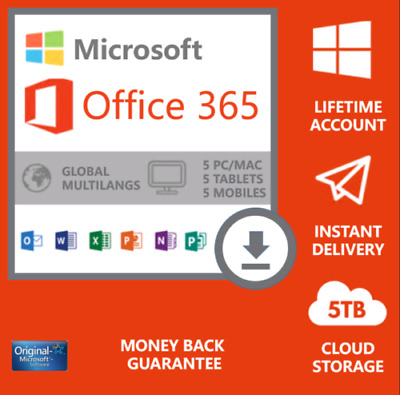 MICROSOFT®OFFICE 365 LIFETIME Account For 5 DEVICES - Android , PC And Mac 5TB • 3.99£