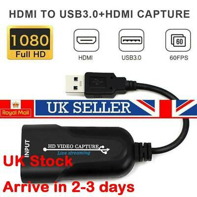 UK HDMI To USB Video Capture Card HD 1080P Grabber Online Class Game Recording • 6.99£
