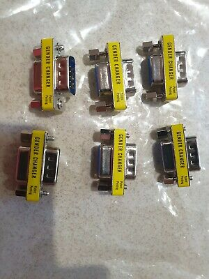 JOB LOT QTY 6 Gender Changer 9 Pin Female To F Serial RS232 Adapter Coupler DB9 • 9.95£
