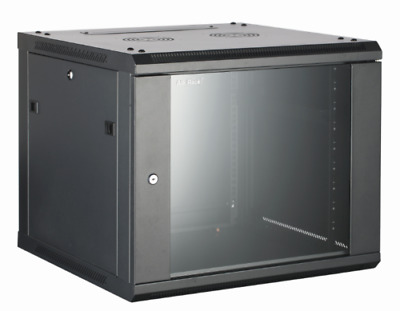 12U 600mm Black Wall Cabinet Network Data Rack For Patch Panel, LAN Switch Route • 99£