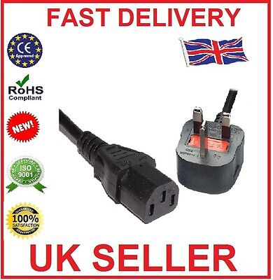 3M 3 Pin UK Mains Power Plug To IEC C13 Kettle Lead Cable Cord For PC Monitor TV • 5.99£