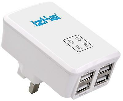 UK Mains Wall 3 Pin Plug Adaptor Charger With 4 USB Ports For Phones Tablets CE • 7.99£