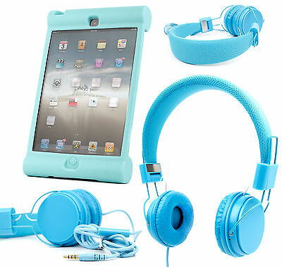 Premium Kids / Child Headphones And Shell Case For Apple IPad Mini In Blue • 16.99£