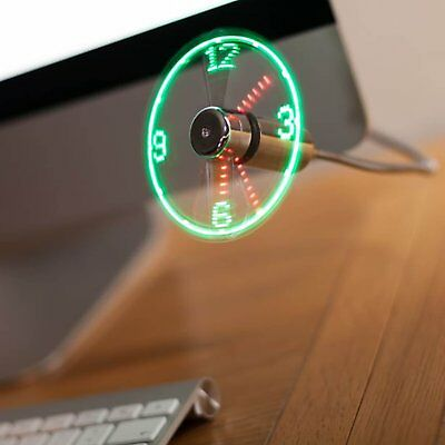 USB Powered LED Clock Fan Display Time • 6.79£