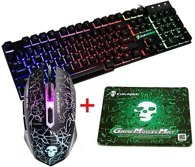 UK Layout T6 Rainbow Backlit Gaming Keyboard And Mouse Set For PC PS4 Xbox One • 29.99£