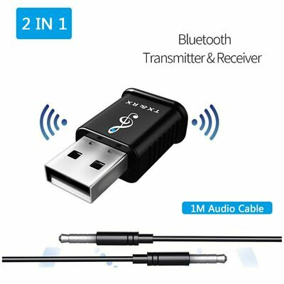 USB Bluetooth 5.0 Audio Transmitter/Receiver Adapter For TV PC Car AUX Speaker • 4.98£