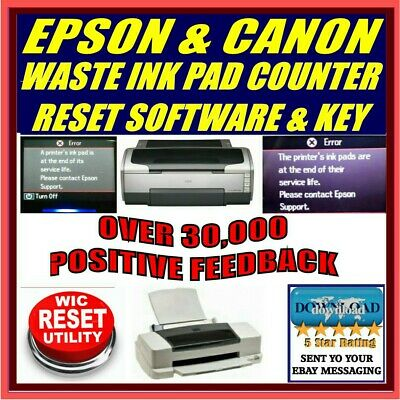 Epson & Canon Printer Waste Ink Pad Counter Error Reset + Key Download Px Sx Xp • 9.87£