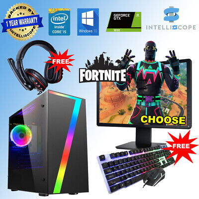 Fast Gaming PC Computer Bundle Intel Quad Core I5 16GB 1TB Win 10 4GB GTX1650 • 369.99£