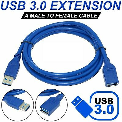 USB 3.0 Super Speed Extension Cable Lead Extender Male To Female Cord 1.5 M • 3.40£