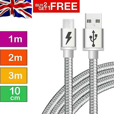 Long Braided Fast Charge Phone Charger Charging Micro USB Sync Data Lead Cable • 2.49£